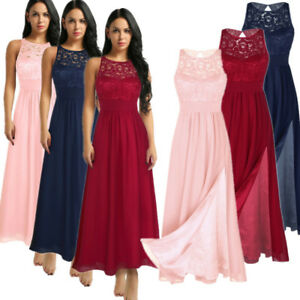 Image is loading Women-Lace-Formal-Wedding-Bridesmaid-Evening-Party-Prom- 44a2e127f594