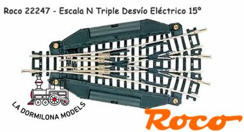 ROCO 22247 ESCALA N c96 NUEVO DESVIO TRIPLE ELECTRICO IZQUIERDA 15º