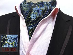 Cravate-Mouchoir-De-Poche-Ensemble-Bleu-Jaune-100-Soie-Mariage-Ascot-tie
