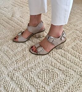 bb3c056364c BRAND NEW ASOS NUDE Faux Leather SILVER BUCKLE PERSPEX SANDALS BLOCK ...