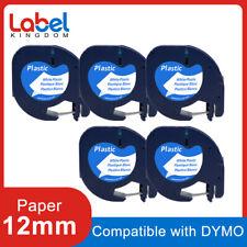 5pk Compatible Dymo Letratag Refills 91331 Plastic Label Tape Lt 100h 12mm X 4m