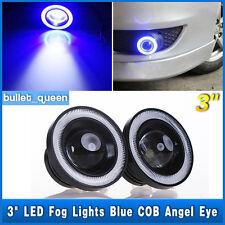"3"" LED Fog Lights Cars SUV Headlight With Blue COB Halo Angel Eye Rings DRL USA"