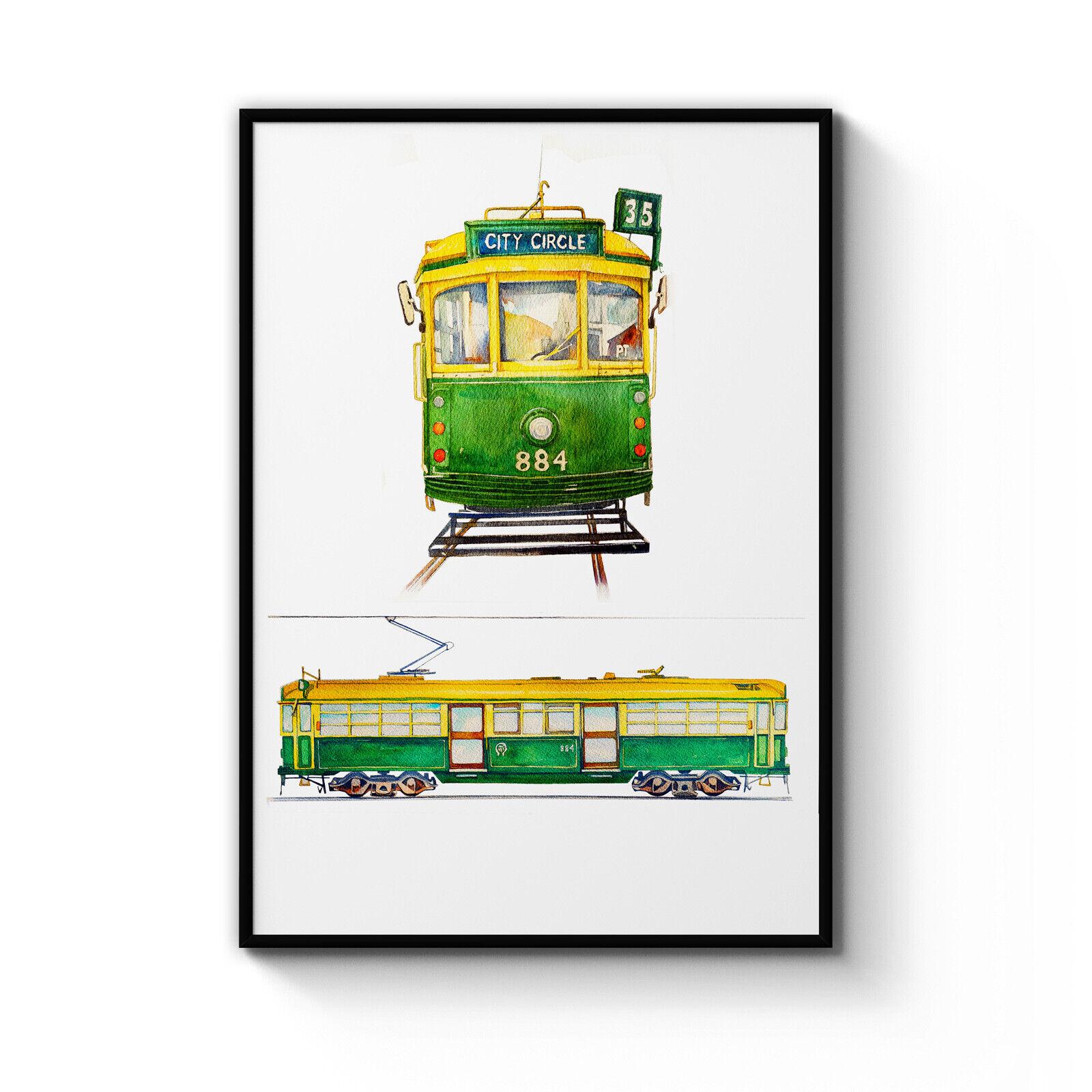 Melbourne Old Grün Tram Painting Australia Art Print Poster  A4 - B1 Framed