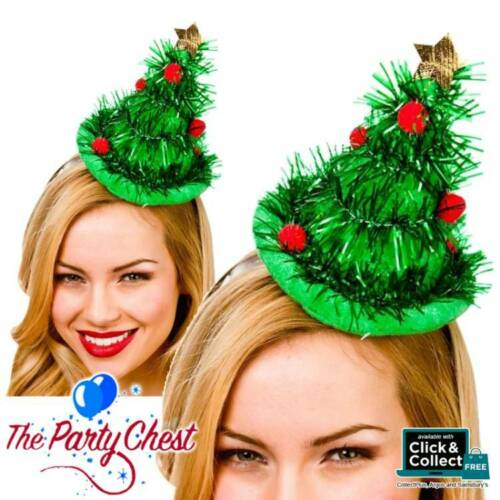 MINI TINSEL CHRISTMAS TREE HAT ON HEADBAND Festive Party Fancy Dress Hat XM4569
