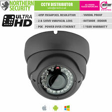 Cámara De Seguridad 4MP 2.8-12mm 1080P P2P Onvif 30M ir Audio Ip Poe Gris Domo Cctv