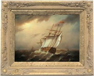A-Galleon-on-Rough-Seas-Marine-Oil-Painting-by-Jean-Laurent-French-1898-1988