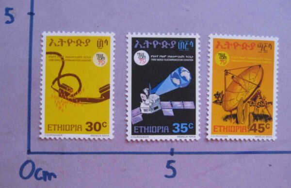 Enthousiaste Ethiopie 1979 Communications Telephone Espace Neuf Ethiopia Space Mnh Satelite