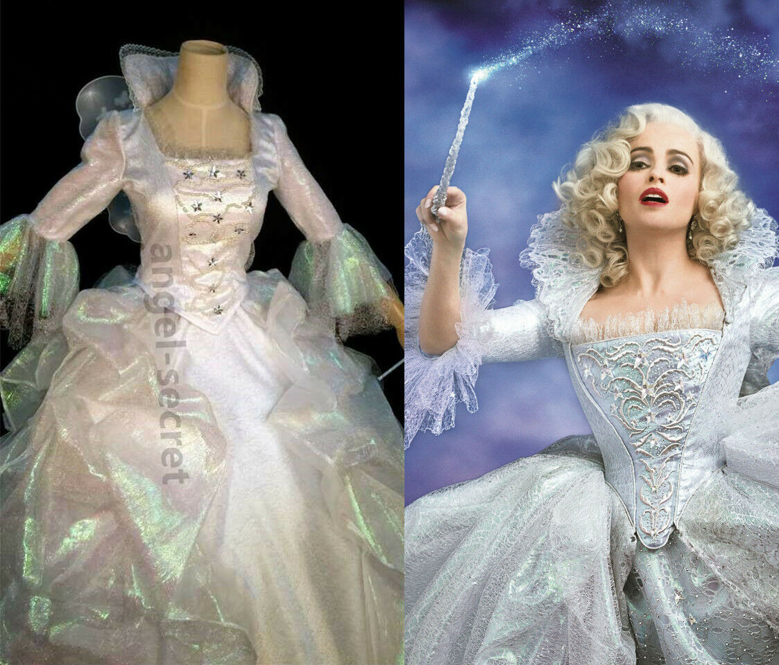 FP388 NEW fairy god mother Cinderella 2015 movie white metallic gown