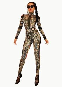 Gold Jumpsuit Spandex Crystal Printed Bodysuit Rhinestones Costume Stretch Sexy Ow4rZOqn