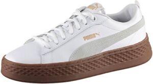 Détails sur Puma Smash Plate Forme Baskets Femme Bas Top Chaussures 366487 Blanc