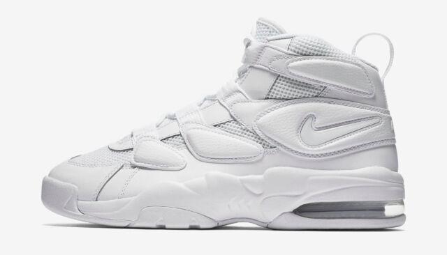 Nike Men's Size 11 Air Max2 Uptempo 94 Triple White Basketball Shoe 922934 100
