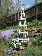 GARDEN TOWER OUTDOOR DECOR OBELISK CLIMBING PLANTS (Tall White)