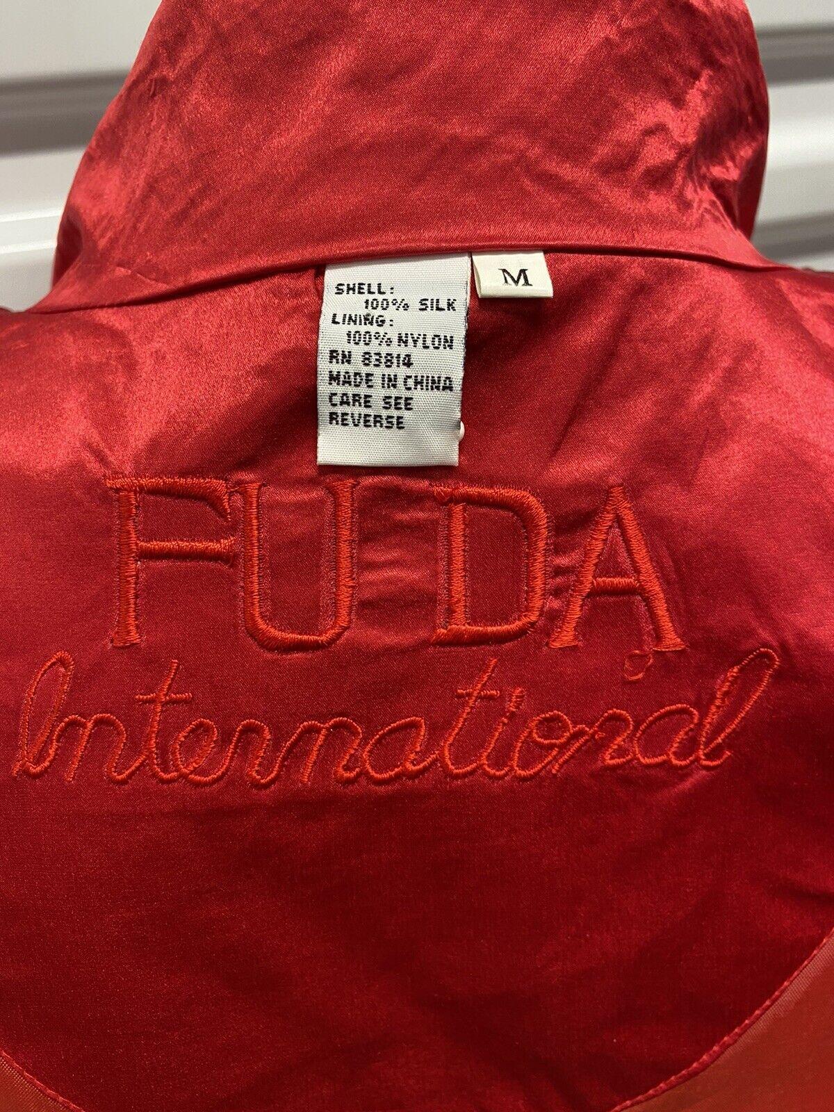 FUDA INTERNATIONAL 100% Silk Red 1980's  Bomber J… - image 5
