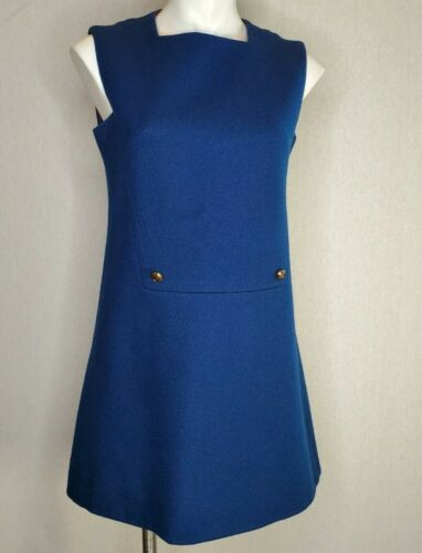 Vintage 1960s Mod Textured Mini Dress Lined Women'