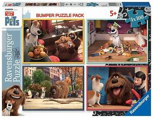 Ravensburger-4-Puzzles-Secret-Life-of-Pets-100-Pieces-Comme-des-Betes