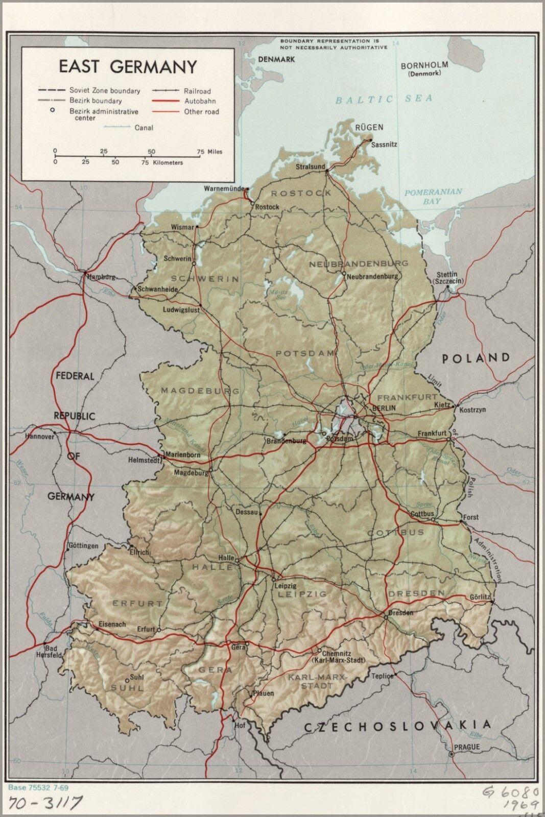 Plakat, Viele Größen; Cia Karte von Ost Deutschland 1969