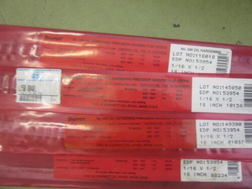 """lot 4 STARRETT 496 OIL HARDENING PRECISION GROUND FLAT STOCK 1//16/"""" X 1//2/"""" X 18"""
