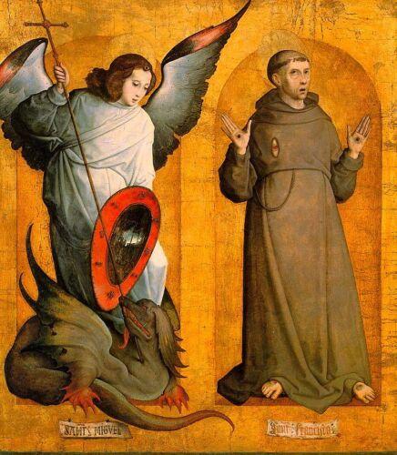 Juan de Flandes Saints Michael /& Francis Angel Monk Dragon Cross  6x5 Inch Print