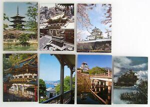 7-x-JAPAN-Postkarte-mit-Briefmarken-Nippon-Postcards-with-stamps-Tempel-Motive