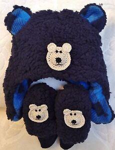 e7a0f8dc9ec NEW NAVY BLUE FLEECE HAT MITTENS SET 0 3 6 9 12 MONTHS BABY BOYS ...