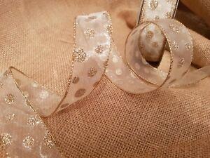 GLITTER-DOTS-Gold-on-Cream-sheer-organza-Luxury-Wire-Edge-Ribbon