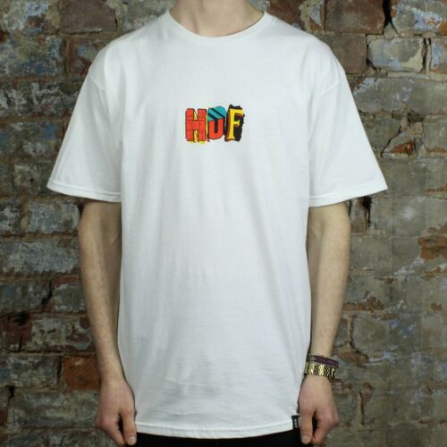 HUF Our Heroes T-Shirt Tee Brand New in White in Size S