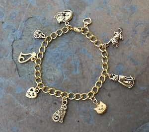 Image Is Loading Love Cat Charm Bracelet 22k Gold Plated Kitty