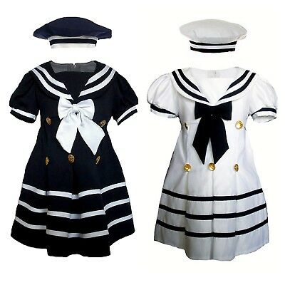 Infant Toddler Girl Navy Sailor Costume Party Satin Dress Outfit Sz S-XL 2T-4T