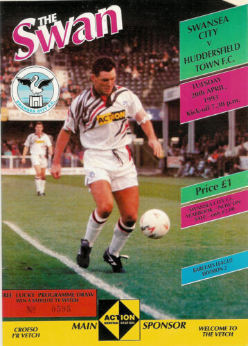 Swansea City v Huddersfield Town 20 Apr 1993 FOOTBALL PROGRAMME