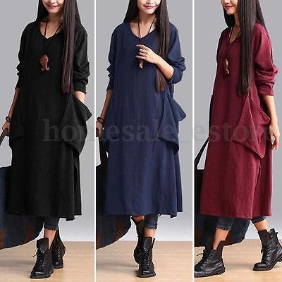 S-5XL Zanzea Women Long Sleeve V Neck Pocket Split Hem Kaftan Long Maxi Dress