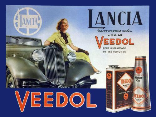 FRIDGE MAGNET METAL VINTAGE SHABBY-CHIC LANCIA MOTOR OIL PLAQUE GIFT