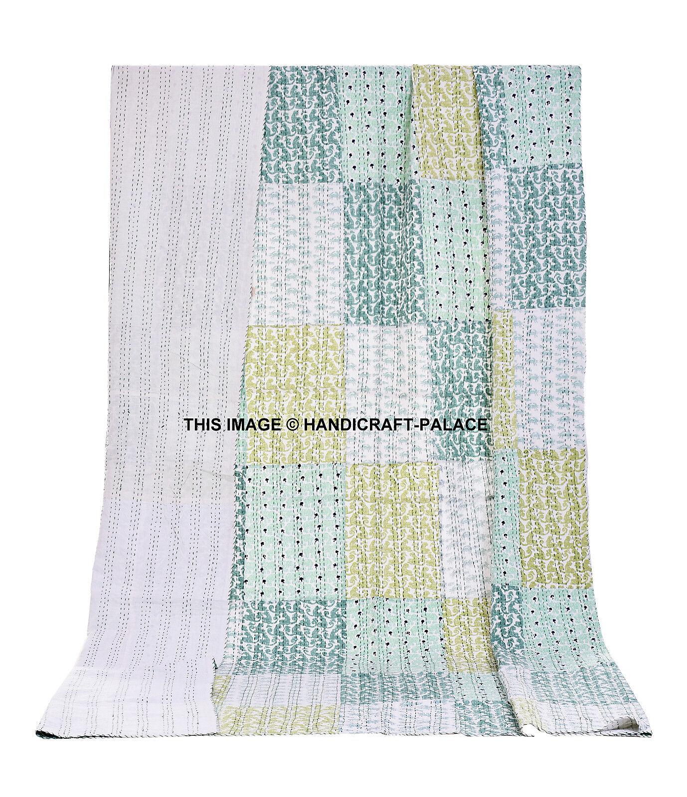 Indian Kantha Queen Quilt Handmade Patchwork Reversible Bedspread Blanket Throw