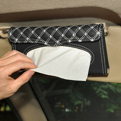 Car Sun Visor Faux Leather Tissue Box Paper Towel Napkin Case Cover Black-white