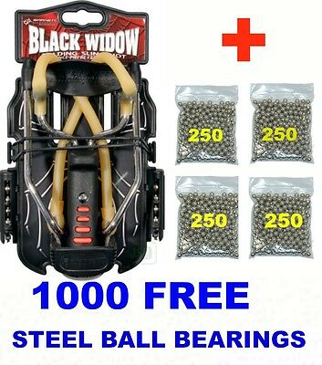 Barnett BLACK WIDOW Powerful Hunting Slingshot Catapult + 1000 x 6mm BB Ammo