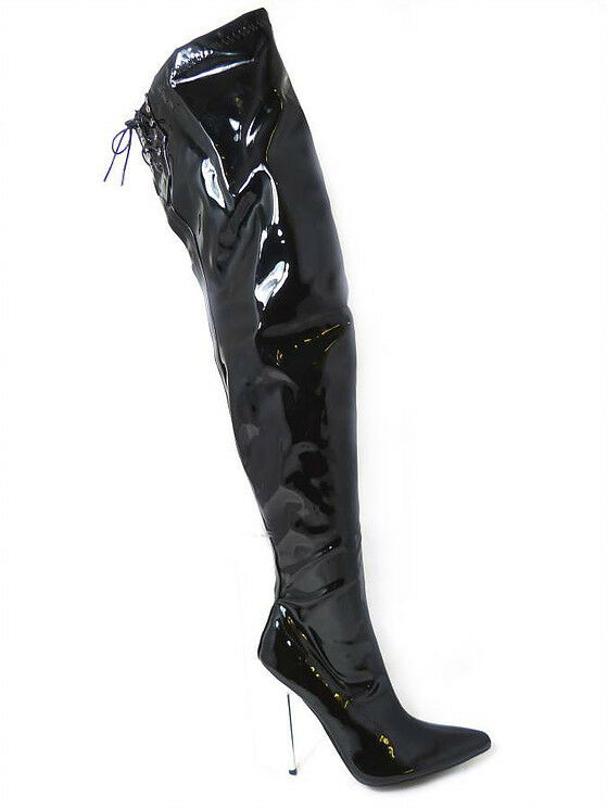 Mens Ladies Gloss Black Stiletto Thigh High Length Over Knee Zipped Boots 9-12