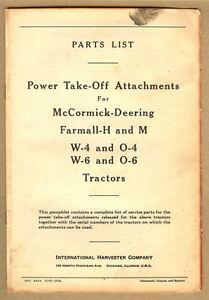 1941 IH FARMALL H & M Tracteur Power Take Off pièces jointes liste de pièces- W-4- 6-O-4-6-afficher le titre d`origine kdfhTexD-09165009-707947686