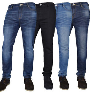 Nuevo-Para-hombres-Calce-cenido-tramo-Flex-Skinny-Jeans-Tela-de-Jeans-Cintura-amp-Longitud