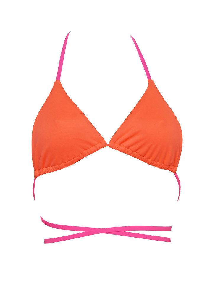 Agent Provocat Pour Femme Fluo Haut de Bikini Solid Orange Größe S