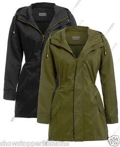 Taille-8-10-12-14-16-femmes-toile-coton-mac-dames-trench-veste-manteau-kaki-NEUF