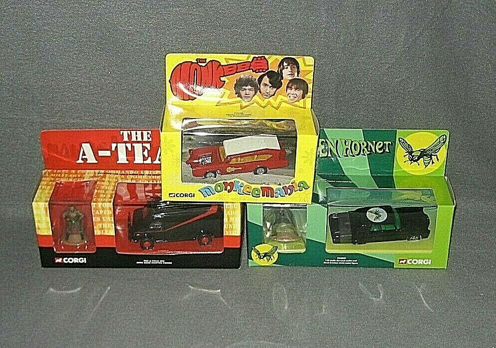Corgi 2001 A-TEAM Grün HORNET & MONKEES Die Cast Car w  Figues LOT of 3