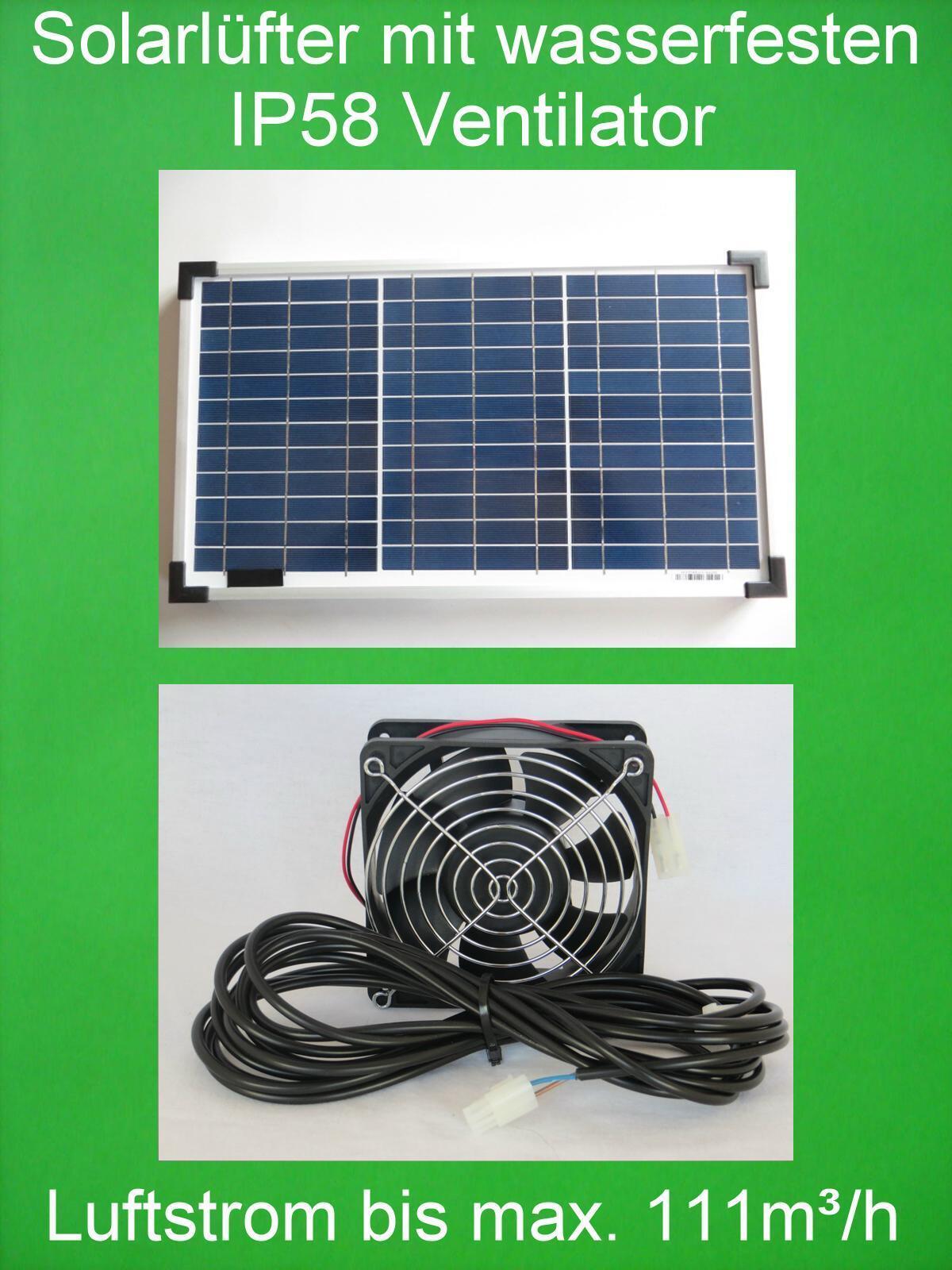 20 W wasserfester IP58 POWER Solarlüfter Solar Axial Lüfter Ventilator Belüfter