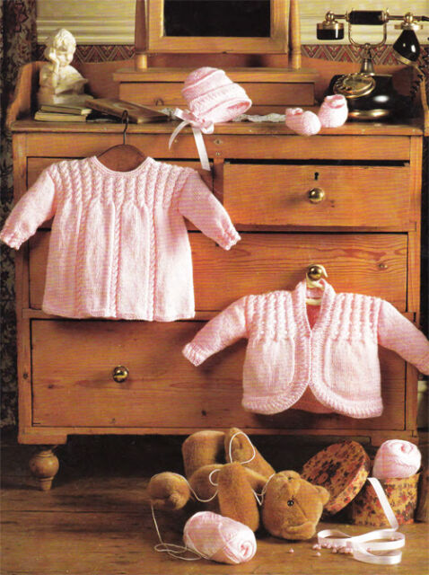 "Knitting Pattern-Baby dress,jacket,bonnet,shawl bootees-romper-hat  DK- 14-20"""