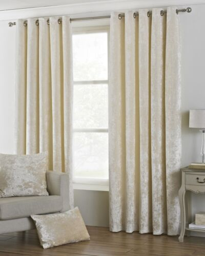 DEEP PILE CRUSHED VELVET CREAM LINED RING TOP CURTAINS *8 SIZES*