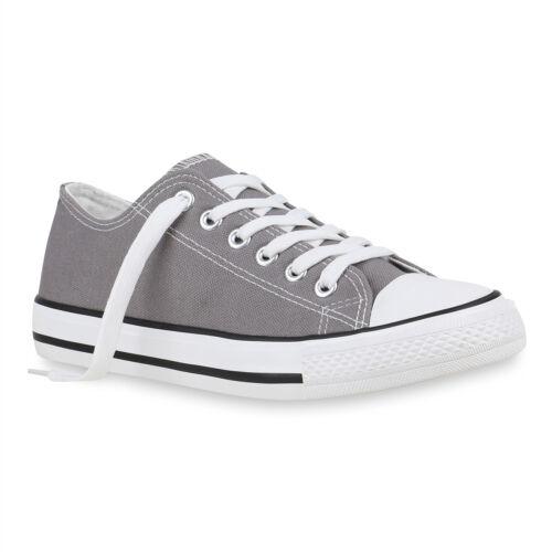 Damen Sneaker Low Stoffschuhe Basic Schnürer Schuhe Turnschuhe 820785 Top