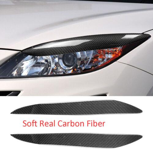 Carbon Fiber Headlight Eyelids Eyebrow Trim Fit For Mazda 3 Mazda3 JDM 2010-2013