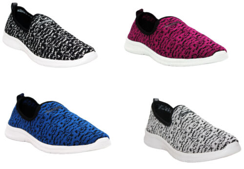 NEW LADIES WOMENS SLIP ON SUPER LIGHT MESH COMFY GO WALK GYM TRAINERS SHOES 3-8