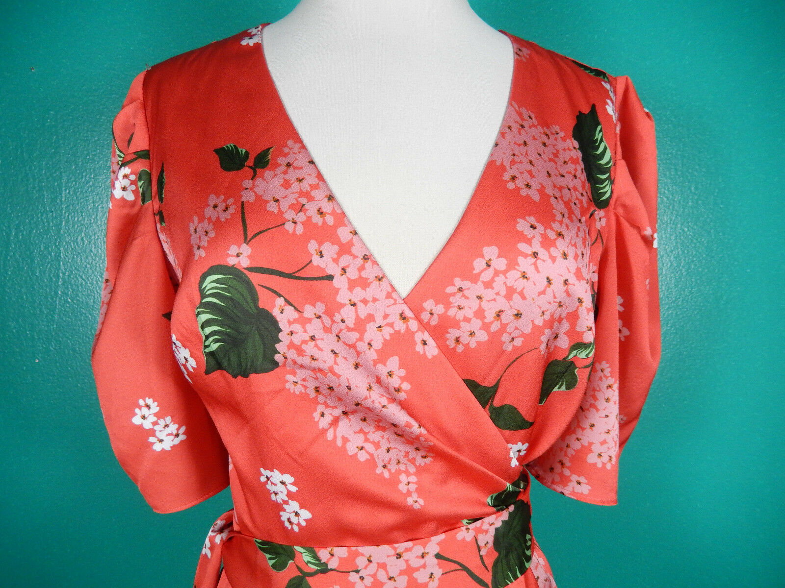 KEEPSAKE THE LABEL THIS MOMENT orange RED FLORAL WRAP WRAP WRAP DRESS S NWT 20dc06
