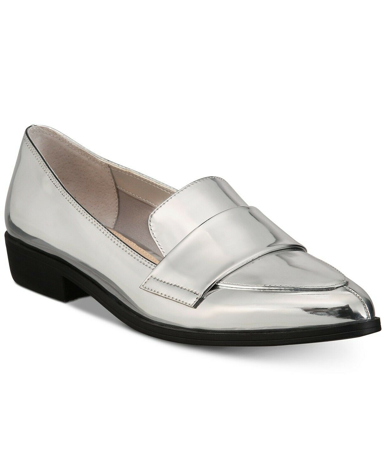 Bar III Womens Involve Pointed Toe Loafers, Silver, Size 8.0 EeWI US