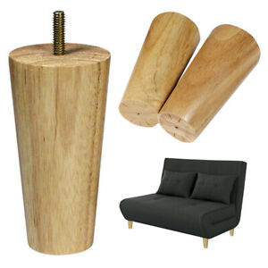 Rubber-Wooden-Furniture-Legs-Unfinished-Set-of-4-Clear-Coated-Tapered-5-inch