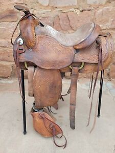 """Hereford Working Western Ranch Saddle with Rope Holder and Tapaderos - 15"""" seat"""
